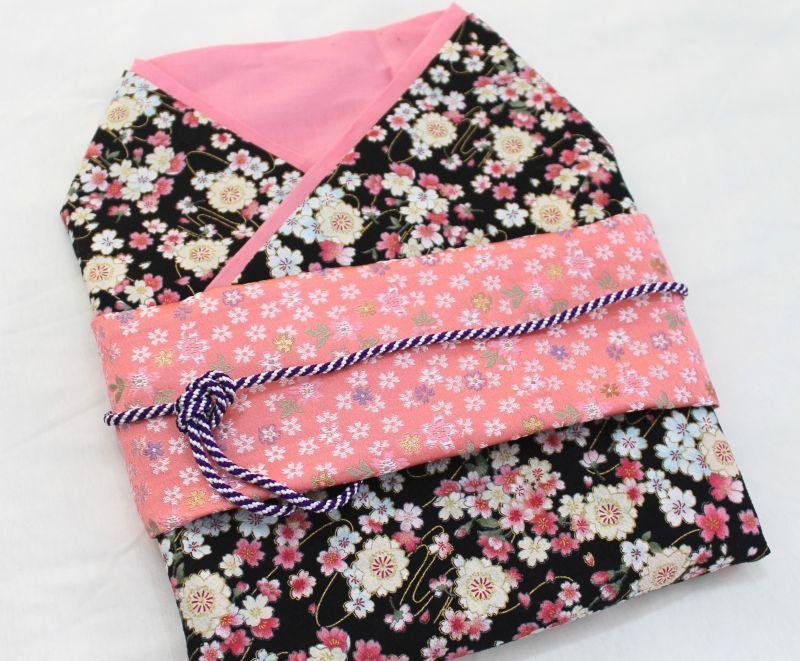 画像1: *オーダー晴れ着*黒×ピンク×桜